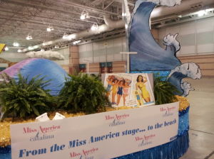 Miss America Parade Preparations: Catalina Swimwear's float features photos of former Miss America winners in their Catalina suits. - Photo by DIANE D'AMICO, Staff Writer