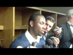 RB LeSean McCoy talks after the Eagles loss to the Steelers, Oct. 7, 2012