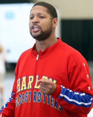 "Video: World famous Harlem Globetrotter Chris ""Handles"" Franklin brought the team's ABCs of Bullying Prevention to students of Wildwood Schools during a community day at the Convention Center on the Boardwalk. Franklin teaches students how to combat bullying by using Action, Bravery, and Compassion.  - Dale Gerhard"