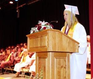 Wildwood High School Graduation: Wildwood High School salutatorian Mackenzie Huber, delivers her address during the graduation ceremony. Wildwood High School held their 108th commencement ceremony in the school's Dr. Stanley M. Hornstine Auditorium Tuesday June 17, 2014. (Dale Gerhard/Press of Atlantic City) - Dale Gerhard
