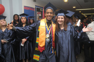 ACCC Graduation: Felix Contreras-Castro. 23, from Galloway, and Jessica Barlow-Getty, 23, from Marmora, were all smiles just before the Atlantic Cape Community Collage 47th Annual Commencement held at the college in Mays Landing Thursday, May 22, 2014. Photo/Dave Griffin - Dave Griffin
