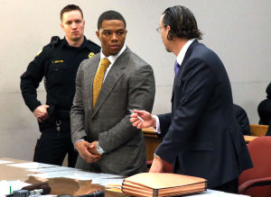 Ray Rice Arraigned: Baltimore Ravens player Ray Rice, left, and lawyer Mike Diamondstein confer in the Atlantic County court house in Mays Landing, Thursday May 1, 2014, for his arraignment. Rice faces assault charges for the alleged assault at Revel in Atlantic City on his now wife. (The Press of Atlantic City/Staff Photo by Michael Ein) - Michael Ein