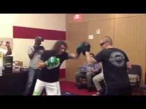Clay Guida works out for media at Revel