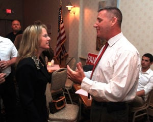 Atlantic County Republican Primary: Challenger Marybeth Bennett, left, congratulates Franks Balles on winning the primary bid for state senate at the Sandi Pointe Restaurant, in Somers Point, Tuesday June 4, 2013.  - Vernon Ogrodnek