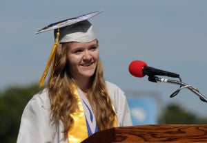 Oakcrest Graduation: Valedictorian Emily Hanna speaks during the Oakcrest High School graduation, Friday June 20, 2014, in Mays Landing. - Michael Ein
