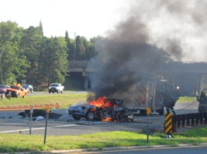Car on fire at GSP exit 38