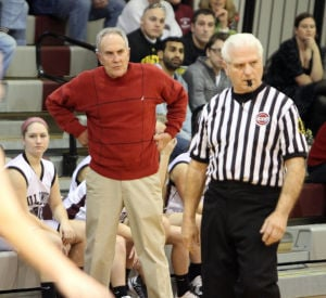 : Wildwood High School girls basketball coach Dave Troiano won his 600th career coaching victory in a win against Cape May County Technical High School. Troiano on the sideline. Tuesday Jan. 29, 2013. (Dale Gerhard/Press of Atlantic City)  - Dale Gerhard