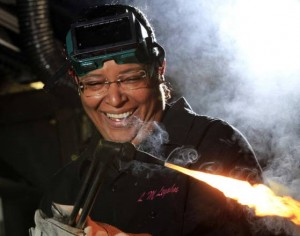 A woman teaches men  more than just welding