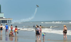 Airshow Practice: People watch from the beach at Florida Avenue. Tuesday June 25 2013 Atlantic City AirShow practice. (The Press of Atlantic City / Ben Fogletto) - Ben Fogletto