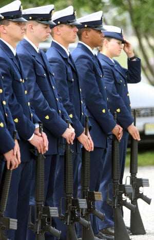 : Members of the U.S. Coast Guard Training Center Cape May, attend the ceremony. Memorial Day services held at Veterans Cemetery in Crest Haven, Middle Township. Monday May 27, 2013. (Dale Gerhard/The Press of Atlantic City)  - Dale Gerhard