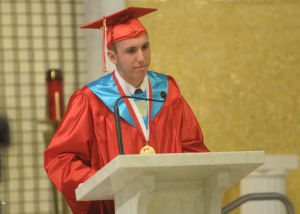 St Joe's Graduation: Salutatorian Anthony Breitzman, 18, from Winslow Township, address the audience during the St. Joseph High School 75th Commencement Exercises held at St. Joseph Church in Hammonton. Photo/Dave Griffin - Dave Griffin