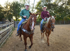 Butch Days Rodeo: Butch Dase (left) and his son Travis, both of Bridgeton, are competing in the Team Roping competition at the Atlantic City Boardwalk Rodeo this weekend. - Photo by Ben Fogletto