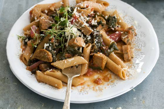 Spring into a healthy mealWhole-wheat pasta redeemed with chard and cheese