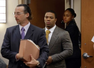 Ray Rice Arraigned: Baltimore Ravens player Ray Rice, center, wife Janay Palmer and lawyer Michael Diamondstein, left, arrive at the Atlantic County court house in Mays Landing, Thursday May 1, 2014, for his arraignment. Rice faces assault charges for the alleged assault at Revel in Atlantic City on his now wife. (The Press of Atlantic City/Staff Photo by Michael Ein) - Michael Ein