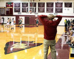 : Wildwood High School girls basketball coach Dave Troiano won his 600th career coaching victory in a win against Cape May County Technical High School. Troiano watches the action as time runs down in the first half. Tuesday Jan. 29, 2013. (Dale Gerhard/Press of Atlantic City)  - Photo by Dale Gerhard