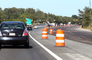 Parkway Update: Construction of overpasses on the Garden State Parkway in Cape May Court House, continues as detours will become common through the construction. Extra lanes have been constructed east of the northbound lane approaching exit 11 near Crest Haven. Friday Sept. 20, 2013,. (Dale Gerhard Photo/Press of Atlantic City) - Dale Gerhard