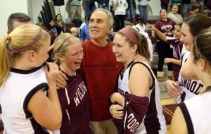 : Wildwood High School girls basketball coach Dave Troiano won his 600th career coaching victory in a win against Cape May County Technical High School. Troiano is congratulated by his team after the win. Tuesday Jan. 29, 2013. (Dale Gerhard/Press of Atlantic City)  - Photo by Dale Gerhard