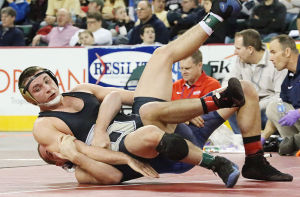 State Wrestling Tournament: 170 lb - Gerardo Jorge of Southern (top) and Sean Roesing of Secaucus in wrestleback. Sunday March 9 2014 State Wrestling Championships at Boardwalk Hall Atlantic City. (The Press of Atlantic City / Ben Fogletto) - Ben Fogletto