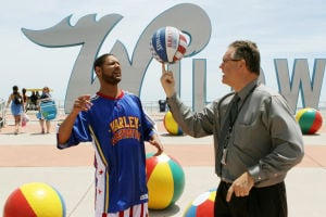 Video: John Lynch, Wildwood Convention Center director of sales, teaches Harlem Globetrotter Chris
