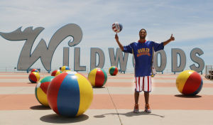 "Globetrotters Video: Harlem Globetrotter Chris ""Handles"" Franklin is promoting the Jersey Shore ""Stronger Than the Storm"" campaign by posing and performing ball handling tricks in front of seashore icons along the New Jersey coast.  - Dale Gerhard"