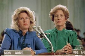 Blurring  The Lines On  Indecency: In 1985, Tipper Gore, wife of then-Sen. Al Gore Jr. (D-Tenn.), left, and Susan Baker, wife of Secretary of State James A. Baker, appeared at a Parents Music Resource Center committee hearing in Washington. The PMRC campaigned to get the music industry to put warning labels on content with explicit lyrics.