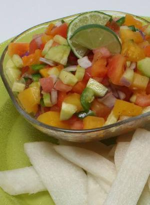 For a healthy picnic treat, try Papaya salsa with jicama chips