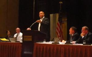 Cory Booker speaks in Atlantic City