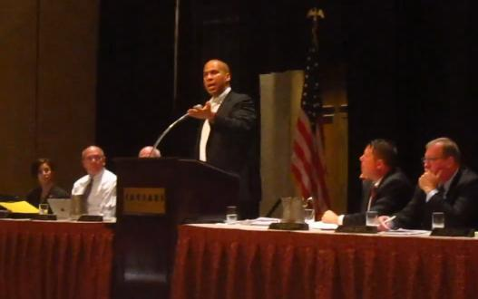 Cory Booker speaks in Atlantic City