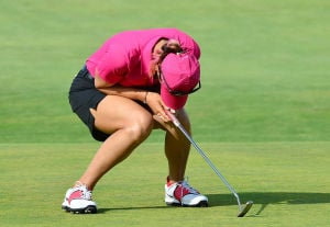 LPGA: Michelle Wie reacts to her missed putt on the 18th green. Sunday June 2 2013 LPGA ShopRite Classic at Seaview Resort in Galloway. Final Day. (The Press of Atlantic City / Ben Fogletto)  - Ben Fogletto