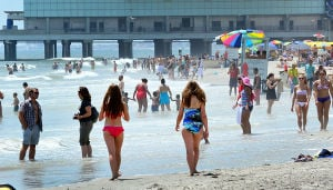 Heatwave: People crowd the beach at MLK. Monday July 15 2013 People escape the heat on the Atlantic City beach near Kentucky and MLK Blvd.(The Press of Atlantic City / Ben Fogletto) - Ben Fogletto