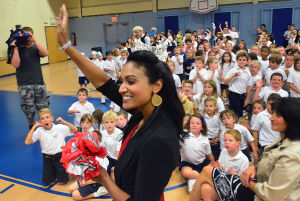 Miss A Visit: Miss America Nina Davuluri arrives at the school. Tuesday October 1 2013 Miss America Nina Davuluri visits St. Joseph's Regional Catholic School in Somers Point. (The Press of Atlantic City / Ben Fogletto) - Ben Fogletto
