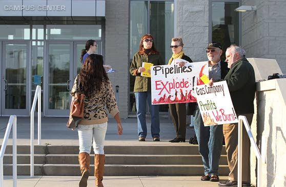 Environmental activists protest Stockton forum