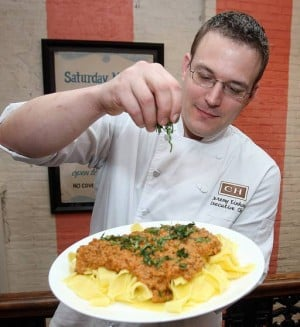 A fine meal for a crowdChef at the Blue Pig Tavern likes pasta Bolognese for entertaining