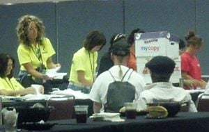 Local 54 Election: Ballots in the Local 54 election are counted Friday at the Atlantic City Convention Center. - Staff photo by Lynda Cohen