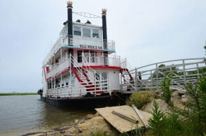 BELL MIRACLE ANN: After being stranded on dry land by Hurricane Sandy, the Belle Miracle Anne riverboat is docked in the bay off Anchorage Avenue along Longport-Somers Point Boulevard in the Anchorage Poynte section of Egg Harbor Township. - Staff Photo By Ben Fogletto