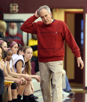 : Wildwood High School girls basketball coach Dave Troiano won his 600th career coaching victory in a win against Cape May County Technical High School. Troiano paces the sideline during the game. Tuesday Jan. 29, 2013. (Dale Gerhard/Press of Atlantic City)  - Dale Gerhard