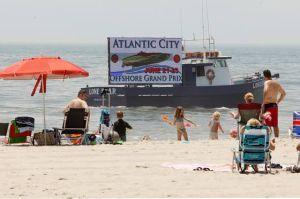 Billboard boat goes high-tech to draw attention of beachgoers