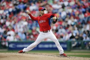 Phillies Photo: The Phillies' Kyle Kendrick allowed five hits and six hits in three innings against the Blue Jays on Saturday.  - Matt Slocum