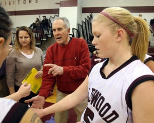 : Wildwood High School girls basketball coach Dave Troiano won his 600th career coaching victory in a win against Cape May County Technical High School. Troiano talks to his team prior to tipoff. Tuesday Jan. 29, 2013. (Dale Gerhard/Press of Atlantic City)  - Photo by Dale Gerhard
