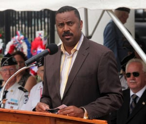 KOREAN WAR VETS: Lorenzo Langford, Atlantic City Mayor, speaks during the Commemorative Ceremony, hosted by the New Jersey Korean War Veterans Association, at the Korean War Memorial at Brighton Park, in Atlantic City, NJ, Friday July 26, 2013. - Vernon Ogrodnek