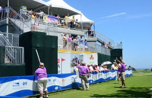 LPGA: Spectators watch 1st hole tee-offs from the back of the grandstand. Friday May 31 2013 LPGA ShopRite Classic at Seaview Resort in Galloway. Day 1 (The Press of Atlantic City / Ben Fogletto)  - Ben Fogletto