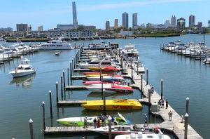 AC Offshore Grand Prix Advance: ADVANCE - Power boats dock in slips at the Farley Marina. Saturday June 22 2013 Atlantic City Offshore Grand Prix at Farley Marina, Atlantic City. (The Press of Atlantic City / Ben Fogletto)  - Ben Fogletto