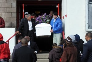 Mack Funeral: The casket is carried from the church after the service at Shiloh Temple Apostolic Church in Atlantic City for Derreck Mack, 18, who was fatally shot by police Dec.17 in Atlantic City.