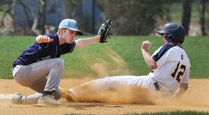 Cumberland County Baseball: Cumberland 12 Tim Gallagher slides safely under the tag of Middlesex 2 Matt Bouthilette during the first inning. Sunday April 13 2014 Middlesex County College at Cumberland County College Baseball. (The Press of Atlantic City / Ben Fogletto) - Ben Fogletto