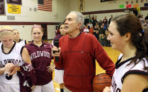 : Wildwood High School girls basketball coach Dave Troiano won his 600th career coaching victory in a win against Cape May County Technical High School. Troiano (center) thanks the fans and his assistant coaches. Tuesday Jan. 29, 2013. (Dale Gerhard/Press of Atlantic City)  - Dale Gerhard