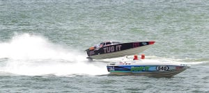 AC Power Boats: Tug It 66 and Pump It 540 on the straight-away during the first race. Sunday June 23 2013 Atlantic City Offshore Grand Prix powerboat race off the beach in Atlantic City. (The Press of Atlantic City / Ben Fogletto)  - Photo by Ben Fogletto