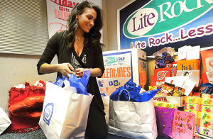 MISS A VALENTINES: Miss America 2014 Nina Davuluri visits the radio studios of Lite Rock 96.6 in Northfield to drop off Valentines and gifts to be sent to troops overseas. Monday February 10 2014 (The Press of Atlantic City / Ben Fogletto) - Ben Fogletto