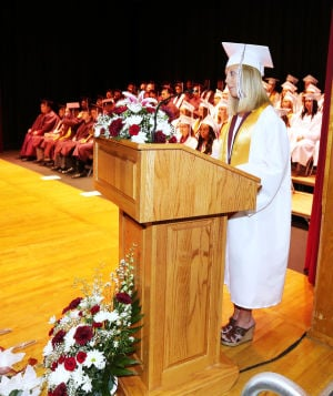 Wildwood High School Graduation: Wildwood High School valedictorian Shelby Thornton, delivers her address during the graduation ceremony. Wildwood High School held their 108th commencement ceremony in the school's Dr. Stanley M. Hornstine Auditorium Tuesday June 17, 2014. (Dale Gerhard/Press of Atlantic City) - Dale Gerhard
