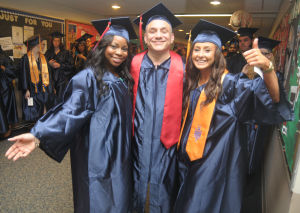 ACCC Graduation: Vardina Osias, 21, from the Bargaintown section of Egg Harbor Township, Gilbert Oliveto, 54, from Northfield, and Mary O�Dowd, 24, from the Scullville section of Egg Harbor Township, were all smiles just before the Atlantic Cape Community Collage 47th Annual Commencement held at the college in Mays Landing Thursday, May 22, 2014. Photo/Dave Griffin - Dave Griffin