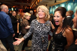 """Gilda's: Michelle Chalmers, left, CEO of Gilda's Club South Jersey, andlontime board member Isabel Allen attend the """"Gilda Rocks On""""benefit Thursday at the Hard Rock Cafe in Atlantic City.  - Edward Lea"""